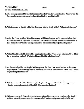 """Gandhi"" - 33 Questions for a Student Viewing of the Film"