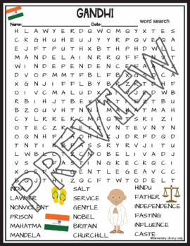 Gandhi Activities Crossword Puzzle and Word Search Find