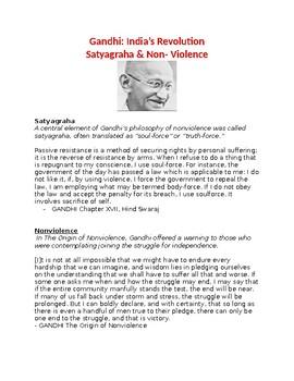 Gandhi: India's Revolution Satyagraha & Non- Violence- worksheet