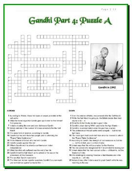 Gandhi Movie Bundle -- Jumbo Cloze Worksheet + 12 Crosswords