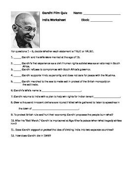 Gandhi Movie Quiz