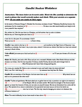 Gandhi Movie Worksheets -- 123 Cloze/Fill-in Problems