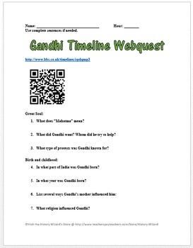 Gandhi Timeline Webquest