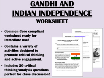 Gandhi and Indian Independence - Global/World History Common Core