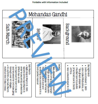 Gandhi (background, beliefs, and Salt March) Foldable