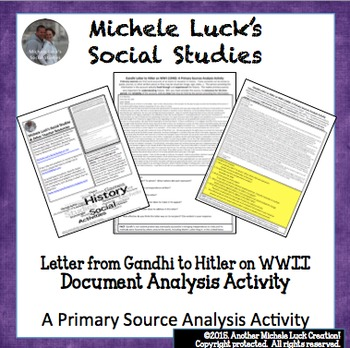 Gandhi to Hitler WWII World War II Letter Primary Source Analysis Activity