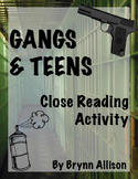 Gangs & Teens Close Reading and Mind Mapping Activity