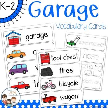 Garage Vocabulary Word Wall Cards plus Write & Wipe Version