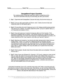 GarageBand Project Checklist