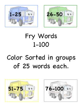 Garbage Truck Fry Words 1-100