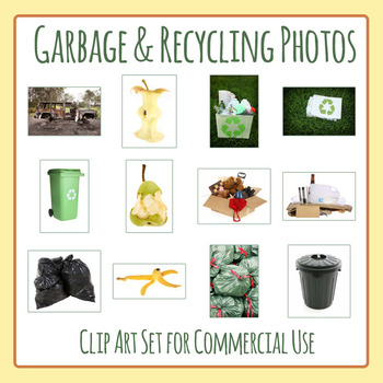 Garbage and Recycling Photos / Photograph Clip Art Set for Commercial Use