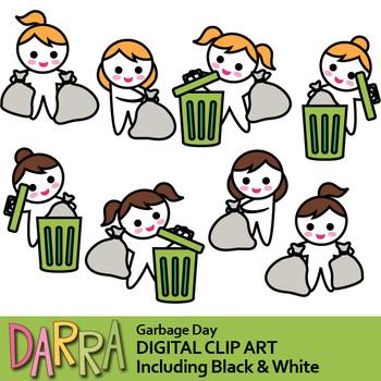Garbage day clip art (garbage bag, trash bin clipart)