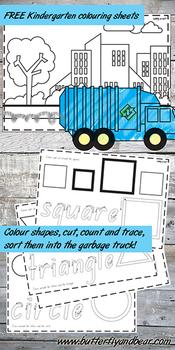 Garbage truck shape learning printables Kindergarten