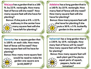 Garden Area and Perimeter PERSONALIZED Task Cards