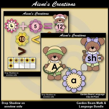 Spring Garden Bears Math & Language Clip Art Bundle