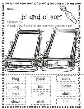 Garden Beginning Blends Word Sorts and Worksheets