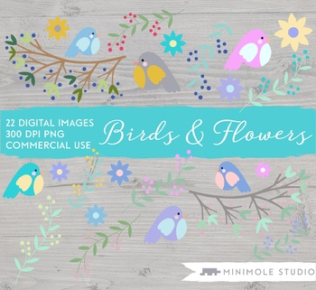 Garden Birds Digital Clipart, Branches, Flowers, Colourful