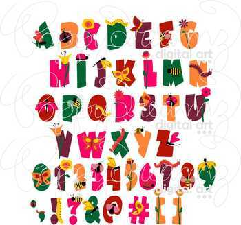 Garden Bug Alphabet Clipart by Poppydreamz
