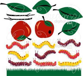Garden Bug Caterpillars Clipart by Poppydreamz