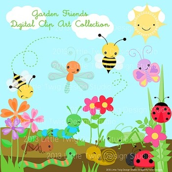 Garden Bugs Digital Clip art