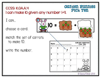 Garden Bunnies Pick 10 Making 10 File Folder Game Math Easter Center