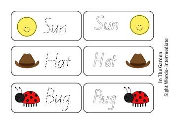 Garden CVC/Sight Words- Bug, Hat, Sun