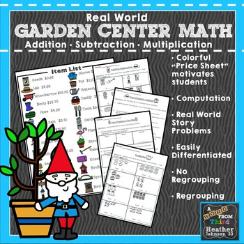 Garden Center Add, Subtract, and Multiply: Money, Real World Word Prob Solving