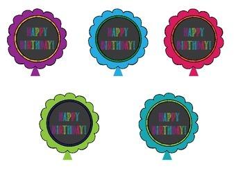 Garden Chalkboard- Birthday Balloons