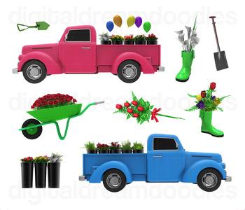 Garden Clip Art - Flower Truck Digital Graphics