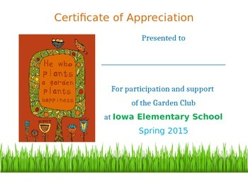 Garden Club Certificate