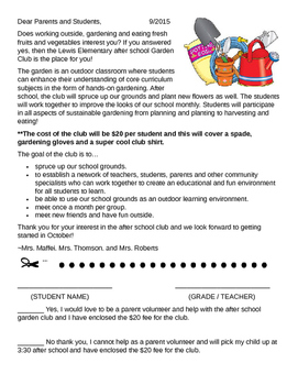 Garden Club letter to students and parents