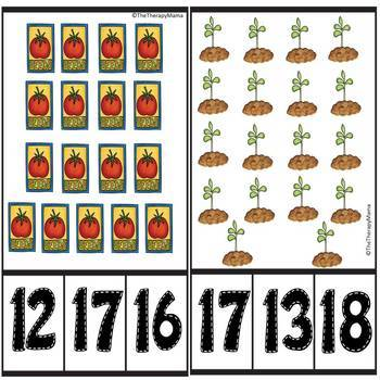 Garden Count and Clip Number Cards