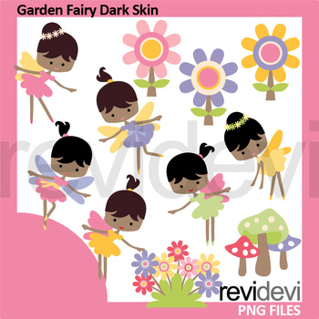 Garden Fairy Dark Skin Clipart - fairies clip art