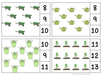 Garden Fun Count & Clip Numbers 1-30 Task Cards