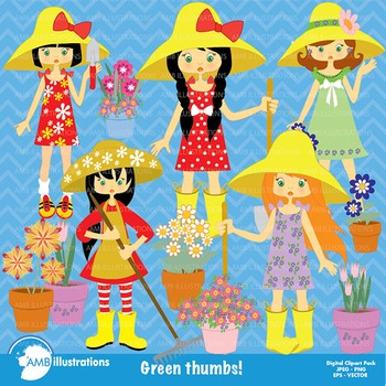 Garden Clipart, Girl Clipart, Gardening Clipart, Girl Clip Art, AMB-221