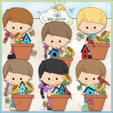 Garden Girls Flower Pots - CU Clip Art & B&W Set