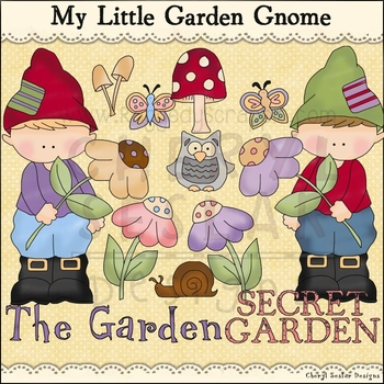 Garden Gnome Clip Art personal & commercial use C Seslar