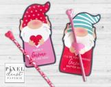 Garden Gnome Printable Valentine Treat Holder Cards