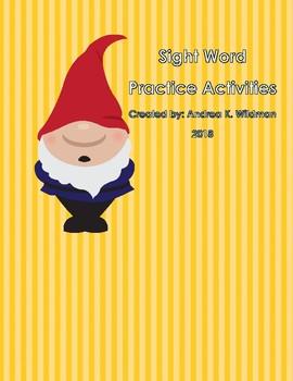Garden Gnome Themed Sight Word Practice Activities