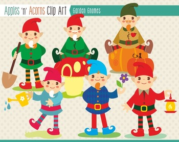 Garden Gnomes Clip Art - color and outlines