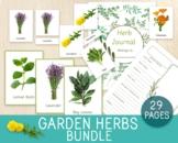 Garden Herbs BUNDLE, Flashcards, 3-Part Cards, 1 Chart, He