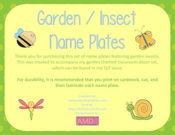 Garden / Insect Name Plates