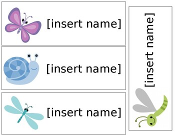 Garden Insects Theme Name Tags - Editable