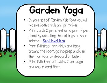 Garden KIDS Yoga Cards and Printables