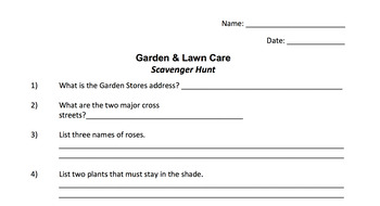 Garden & Lawn Care Scavenger Hunt