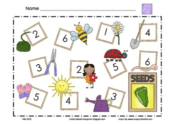 Garden Math Mat ~ Roll and Cover (or) Color Game, Addition