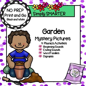 Garden Mystery Pictures:  NO PREP Phonics Color by the Code Activities