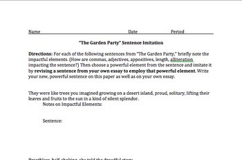 """Garden Party"" AP Literature Analysis Unit"