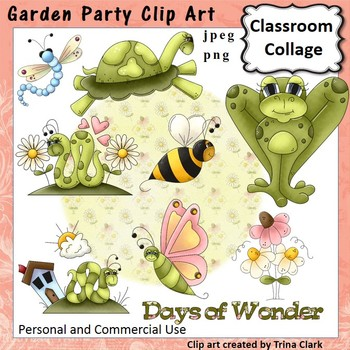 Garden Party Clip Art - Color - personal & commercial use Turtle Snake Dragonfly