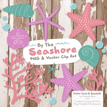 Garden Party Coral & Seashells Clipart